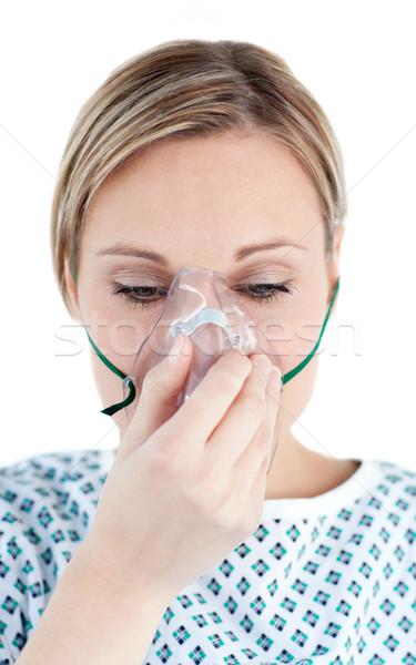 Paciente máscara de oxigênio olhando terreno branco coração Foto stock © wavebreak_media