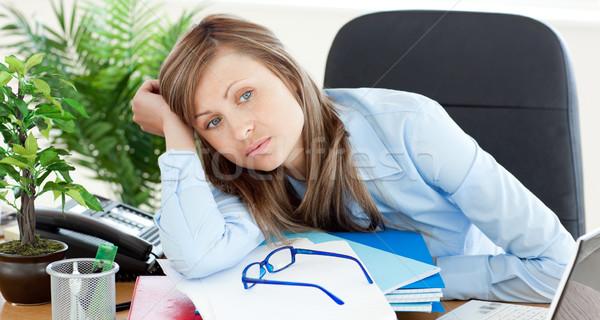 Сток-фото: скучно · деловая · женщина · сидят · столе · служба · бизнеса