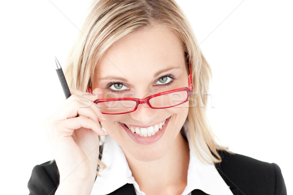 Młodych kobieta interesu uśmiechnięty kamery okulary Zdjęcia stock © wavebreak_media