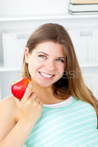 Сток-фото: улыбаясь · яблоко · стороны · домой