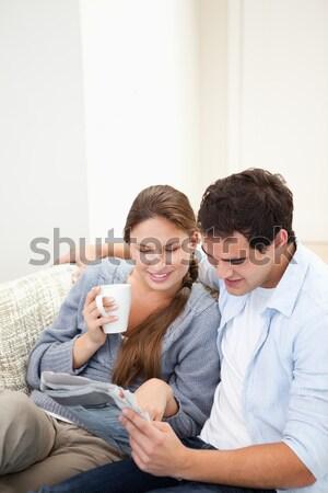 Foto stock: Retrato · alegre · casal · assistindo · filme · pipoca