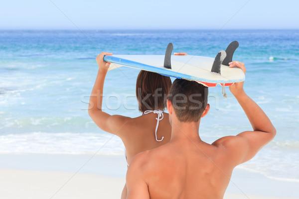 пару доска для серфинга женщину воды спорт природы Сток-фото © wavebreak_media