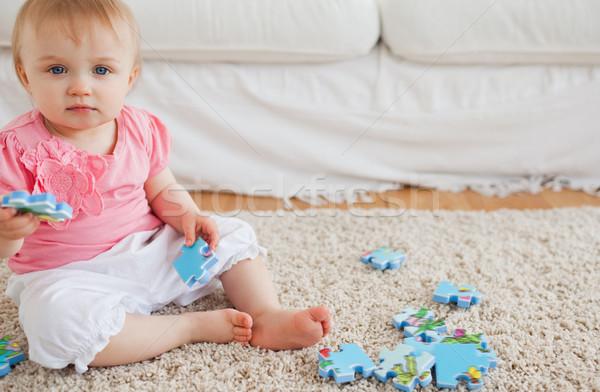 赤ちゃん 演奏 パズルのピース 座って カーペット リビングルーム ストックフォト © wavebreak_media
