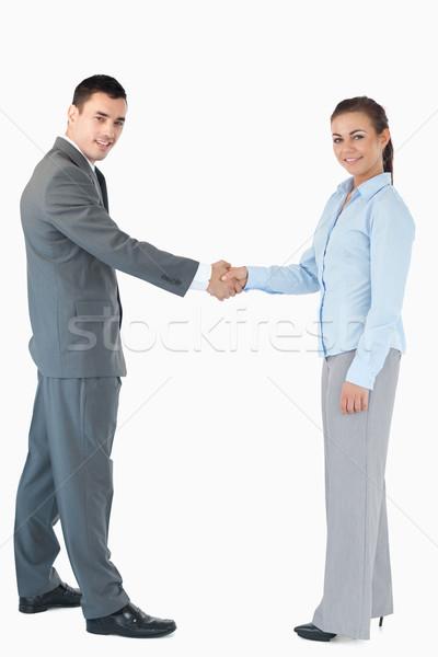 üzletemberek kézfogás fehér üzlet kéz mosoly Stock fotó © wavebreak_media