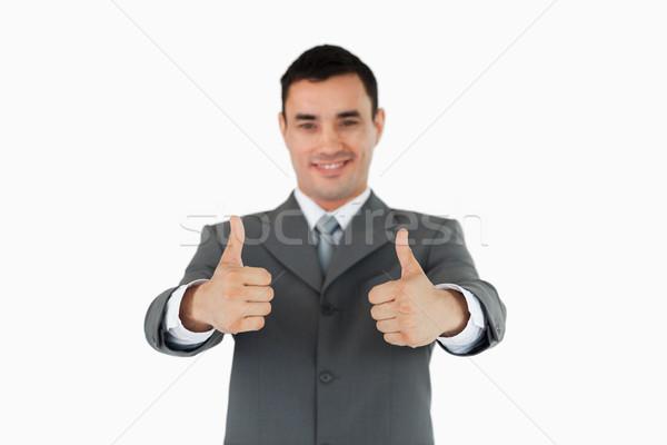 Empresário aprovação branco mão feliz fundo Foto stock © wavebreak_media