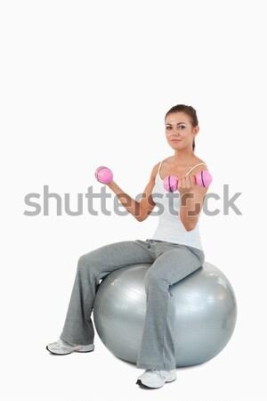 Portré fitt nő edz súlyzók labda Stock fotó © wavebreak_media