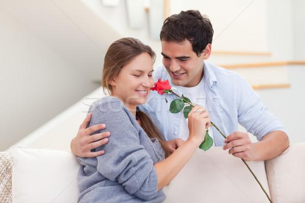 Moço oferta rosa sala de estar cara amor Foto stock © wavebreak_media