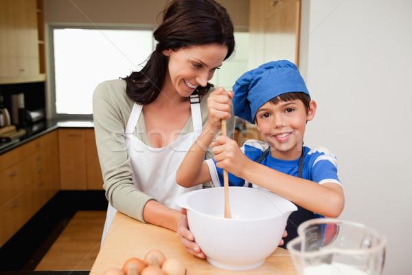 Anya fiú szórakozás torta együtt konyha Stock fotó © wavebreak_media