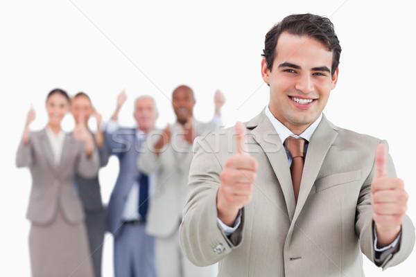 Venditore squadra dietro up bianco mano Foto d'archivio © wavebreak_media