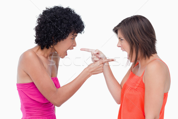 Teenagers standing face to face and pointing their fingers on each other Stock photo © wavebreak_media