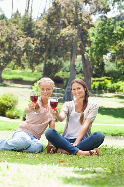 Foto stock: Sonriendo · femenino · amigos · gafas · vino · tinto · parque
