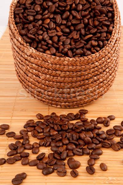Cesta café sementes toalha de mesa Foto stock © wavebreak_media