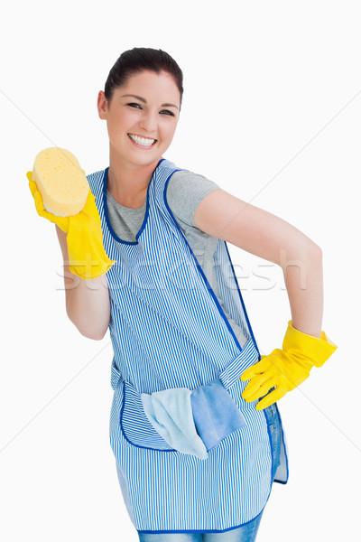 Donna delle pulizie spugna bianco mano felice Foto d'archivio © wavebreak_media