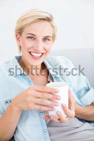 Mutlu kadın yürütme dışarı boş kart Stok fotoğraf © wavebreak_media