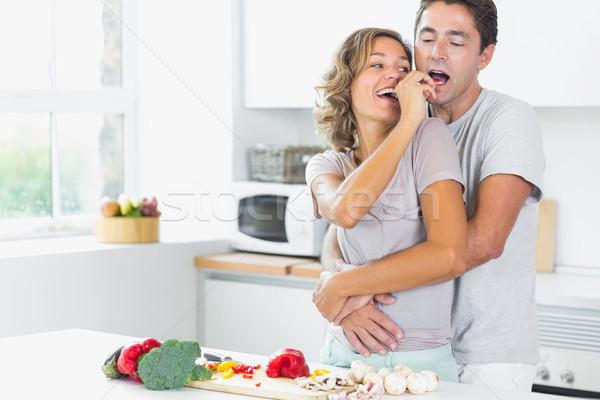 Mąż żona kuchnia warzyw kobieta Zdjęcia stock © wavebreak_media