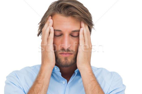 Homme toucher calme maux de tête blanche mains Photo stock © wavebreak_media