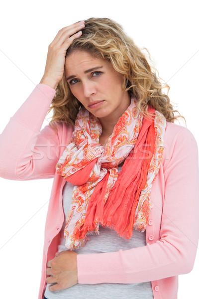 Nő mindkettő fejfájás has fájdalom fehér Stock fotó © wavebreak_media