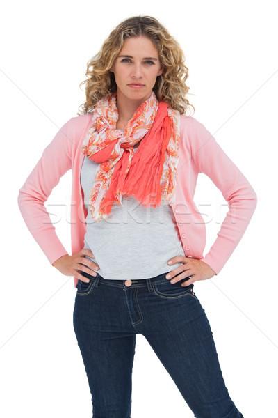 Donna bionda posa mani fianchi bianco donna Foto d'archivio © wavebreak_media