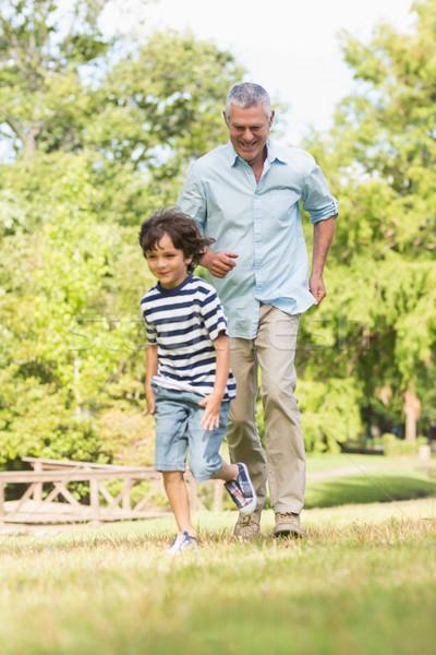 Nagyapa fiú fut fű park teljes alakos Stock fotó © wavebreak_media