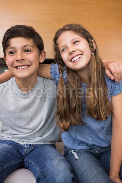 Sorridere piccolo fratelli soggiorno seduta divano Foto d'archivio © wavebreak_media
