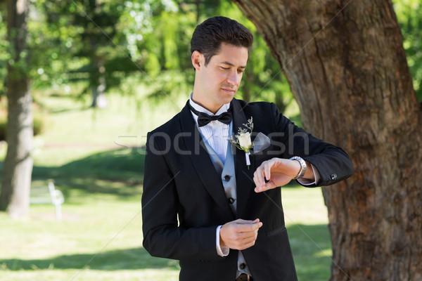 Attrattivo lo sposo tempo giardino giovani uomo Foto d'archivio © wavebreak_media