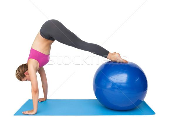 вид сбоку соответствовать фитнес мяча Сток-фото © wavebreak_media