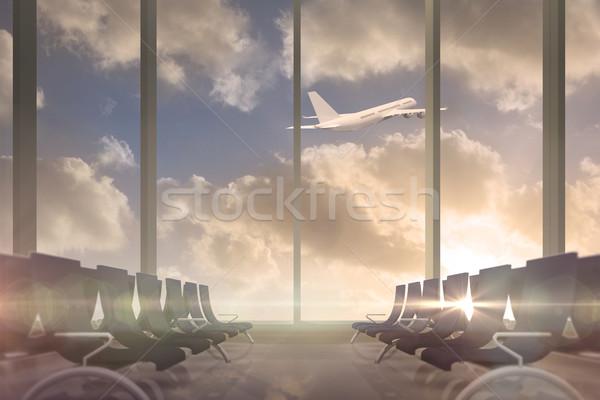 Repülőgép repülés múlt indulási oldal társalgó ablak Stock fotó © wavebreak_media