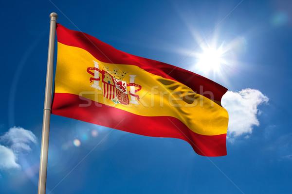 İspanya bayrak bayrak direği mavi gökyüzü güneş ışık Stok fotoğraf © wavebreak_media