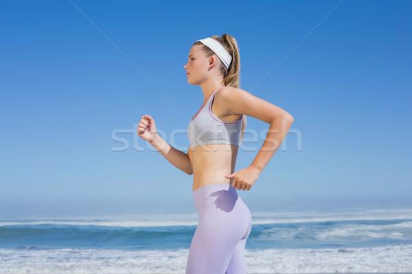 Gericht blond jogging strand Stockfoto © wavebreak_media