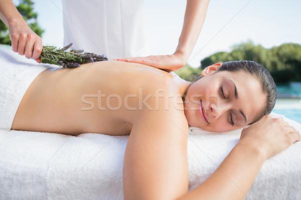 Sorridente morena aromaterapia tratamento fora estância termal Foto stock © wavebreak_media
