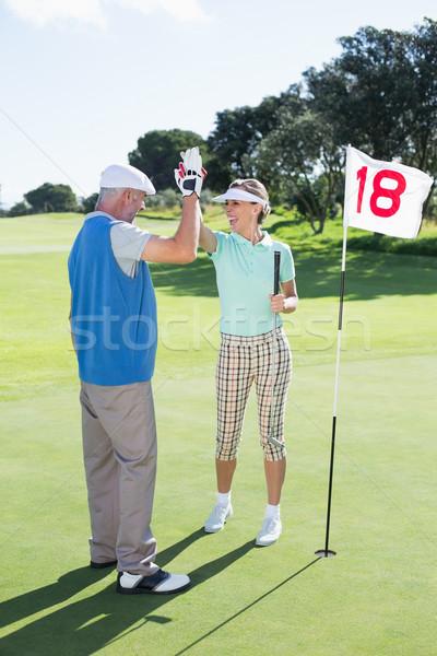 Gra w golfa para wysoki golf otwór Zdjęcia stock © wavebreak_media