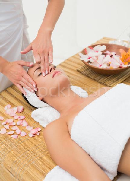 Peaceful brunette enjoying a face massage Stock photo © wavebreak_media