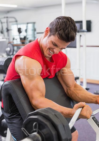 Muskularny człowiek sztanga siłowni portret Zdjęcia stock © wavebreak_media