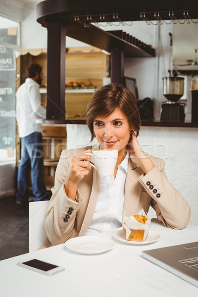 Joli femme d'affaires travail pause café ordinateur Photo stock © wavebreak_media