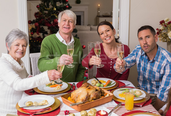 Happy family toasting at camera during christmas dinner Stock photo © wavebreak_media