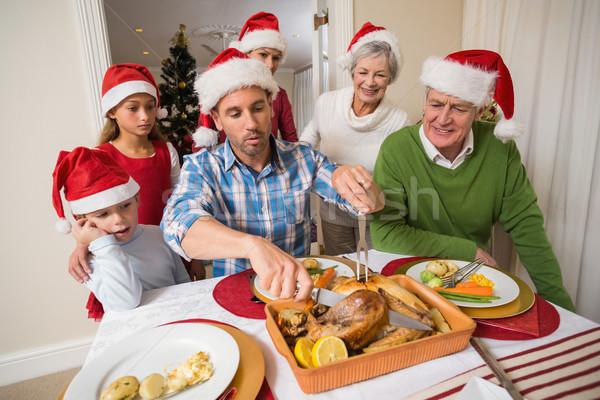Stok fotoğraf: Baba · şapka · tavuk · akşam · yemeği · ev