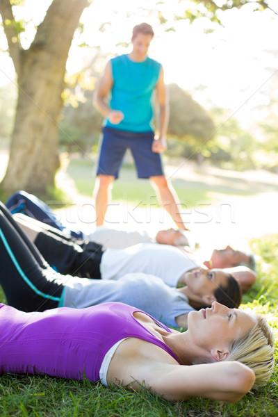 счастливым спортивный группа подготовки женщину Сток-фото © wavebreak_media