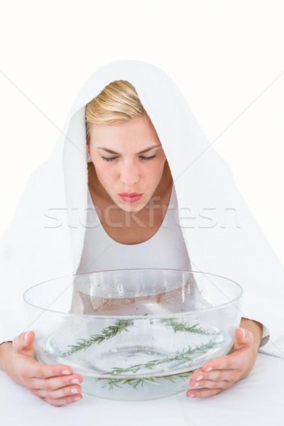 Szőke nő gyógynövény fehér nő víz kéz Stock fotó © wavebreak_media