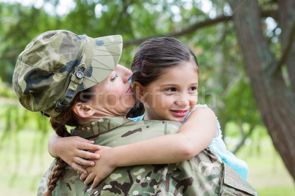 Asker kız kız ağaç bahar Stok fotoğraf © wavebreak_media
