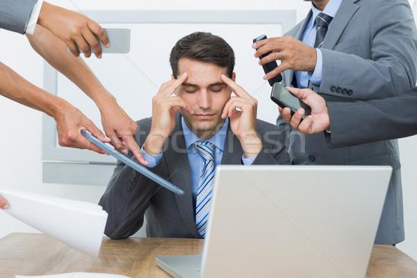 Aggódó üzletember fej kezek ül iroda Stock fotó © wavebreak_media
