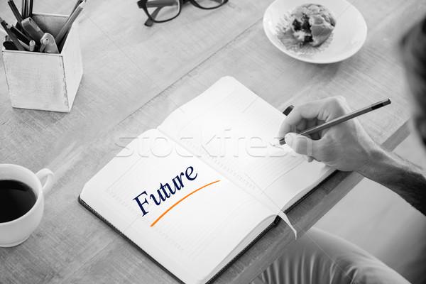 Stock fotó: Jövő · férfi · ír · jegyzetek · napló · szó
