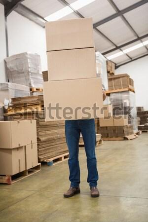 Trabalhador caixas armazém homem caixa Foto stock © wavebreak_media