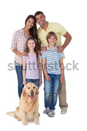 Szczęśliwą rodzinę domowych psa biały kobieta dziewczyna Zdjęcia stock © wavebreak_media
