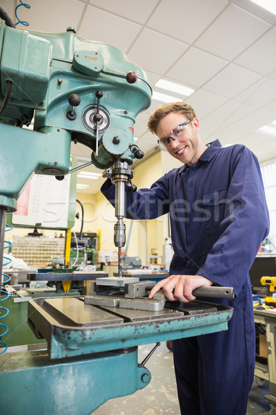 Engineering student using large drill Stock photo © wavebreak_media