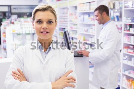 Stagiair luisteren pols stethoscoop apotheek medische Stockfoto © wavebreak_media