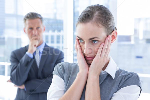 Zakenvrouw handen gezicht kantoor vrouw venster Stockfoto © wavebreak_media