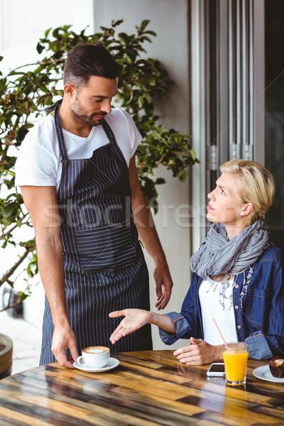 Csinos szőke nő veszekedik pincér kávézó férfi Stock fotó © wavebreak_media