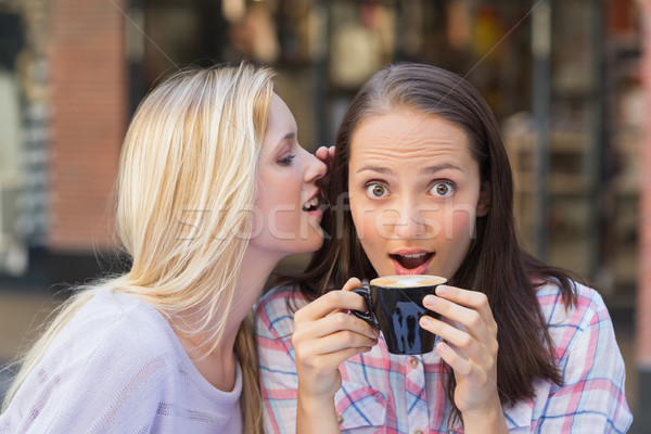 Blonde woman telling secret to her friend while drinking coffee Stock photo © wavebreak_media