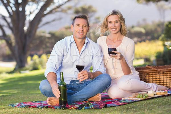 Portrait of smiling couple sitting on picnic blanket and drinkin Stock photo © wavebreak_media