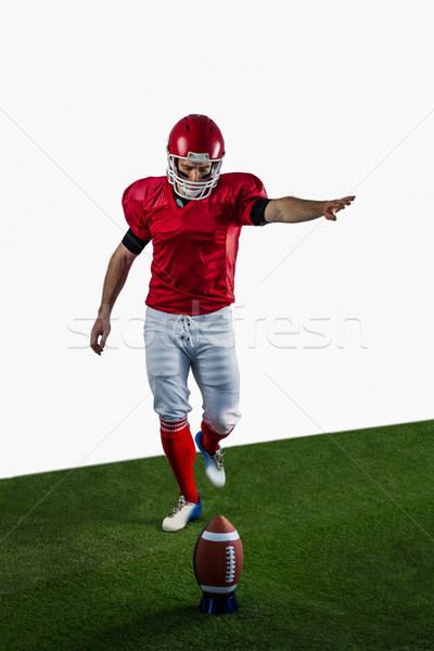Amerikai futballista rúg futball futballpálya fű Stock fotó © wavebreak_media